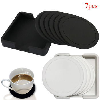 7pcs Non-slip Table Coaster Set Heat Resistant Silicone Mat Drink Glass Black Coasters Kitchen Accessories Coffee Mug Placemat 1pc multifunction foldable silicone table mats heat resistant non slip placemat kitchen accessories random color