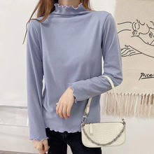 Женская футболка женские топы с длинным рукавом базовая водолазка