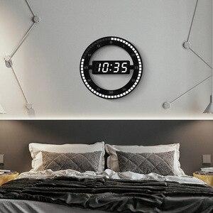 Image 5 - Horloge murale numérique, style moderne, double usage, gradation circulaire photoréceptive, pour la décoration de la maison, prise US et ue, LED