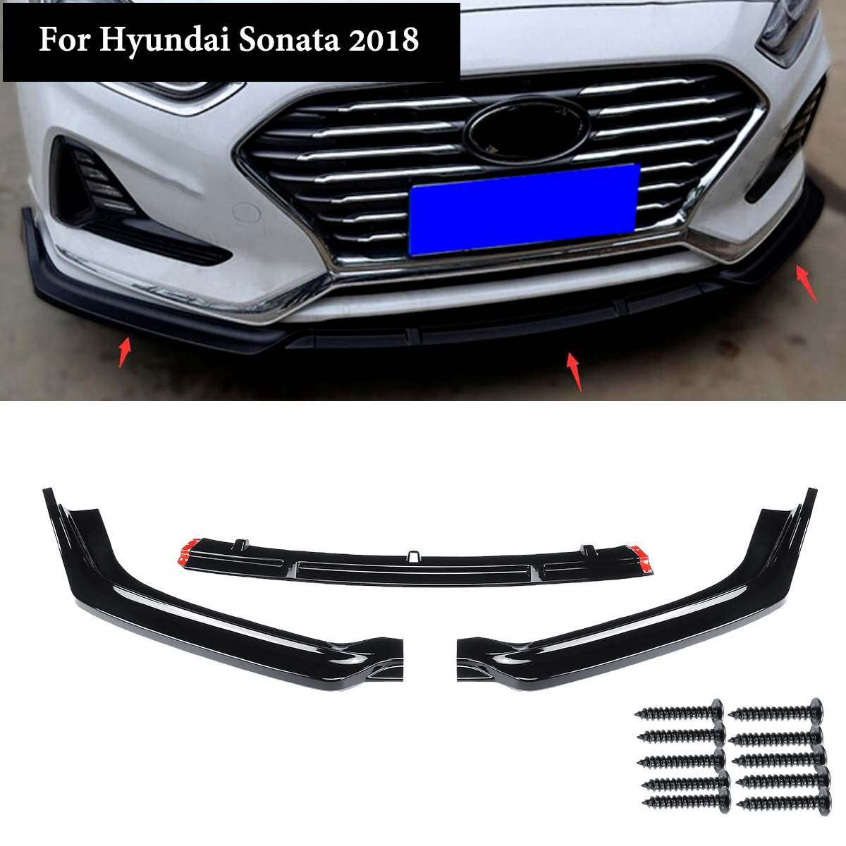 1 Set Car Front Bumper Lip Cover Auto Exterior Parts 3pcs Gloss Black Front Bumper Trim for Hyundai Sonata Hybrid 2018