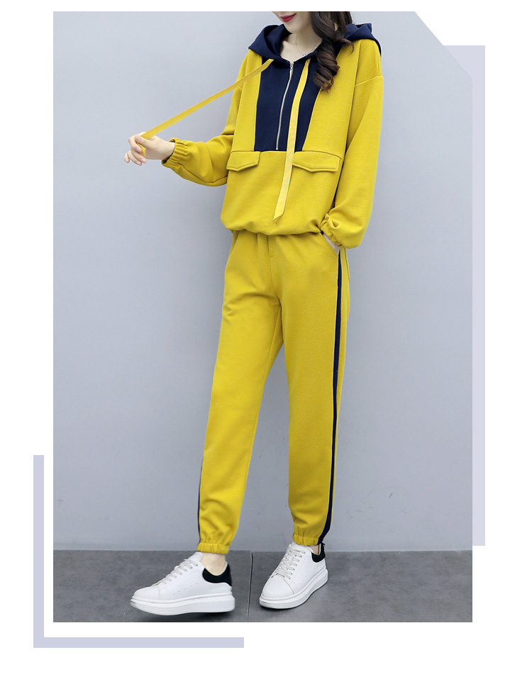 Plus Size Yellow Sport Two Piece Outfits Sets Tracksuits Women Hooded Sweatshirt And Pants Suits Casual Fashion Korean Sets 2019 38