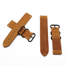 Orange Oil Leather Watch bands Strap for Apple Watch 42mm 44mm Sport WatchBand Series 5/3/2/1 Sport Bracelet For iwatch 4 Band