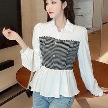 Модная женская блузка shintimes осень 2020 белая рубашка женские