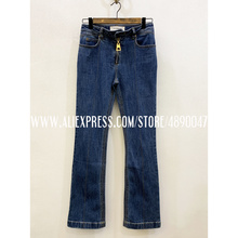 Women's 2020 New high quality jeans blue denim trousers stra