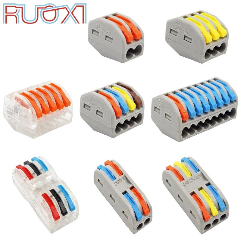Draht Anschluss Schnell Terminal Block Stecker Adapter Grau/Transparent Farbe 32A RF, Beleuchtung 30/50/100 Stück Mini Universal