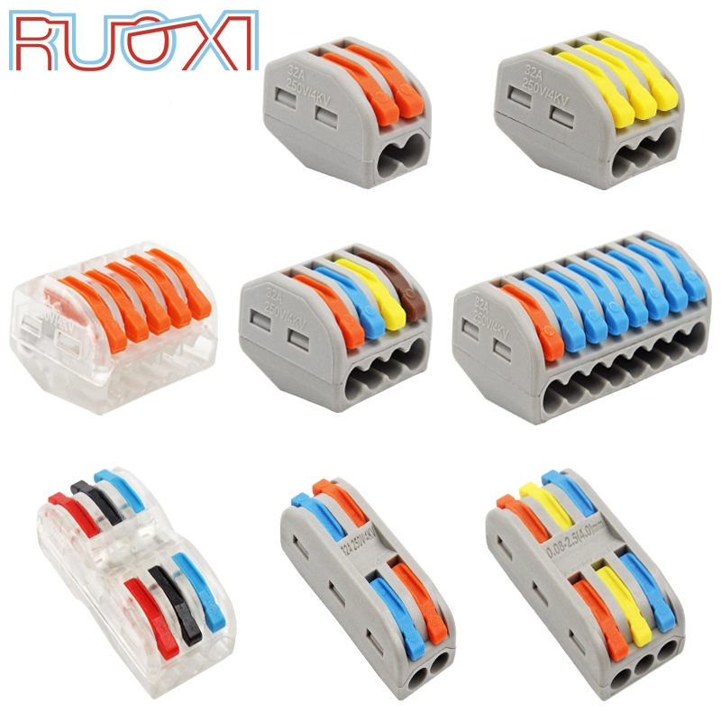 Wire Connector Quick Terminal Block Plug Adapter Gray / Transparent Color 32A RF, Lighting 30/50/100 Pieces Mini Universal