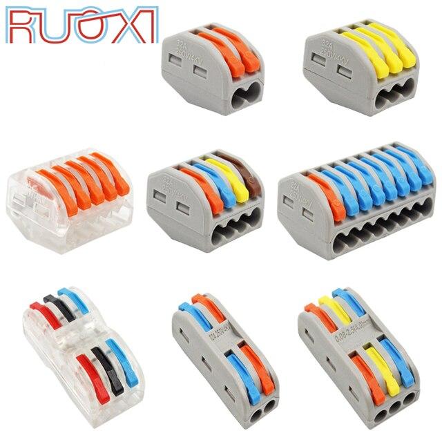 Złącze przewodu szybkie zacisk blok przejściówka Adapter szary/przezroczysty kolor 32A RF, oświetlenie 30/50/100 sztuk Mini uniwersalny