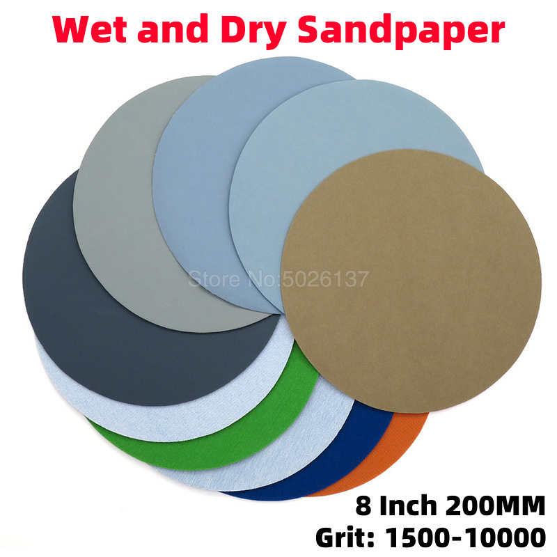 1Pcs 8 Inch 200MM Brushed Flocking Disc Water Sandpaper Grinding Abrasive Paper Sanding Discs Hook Loop Round Disk Sand
