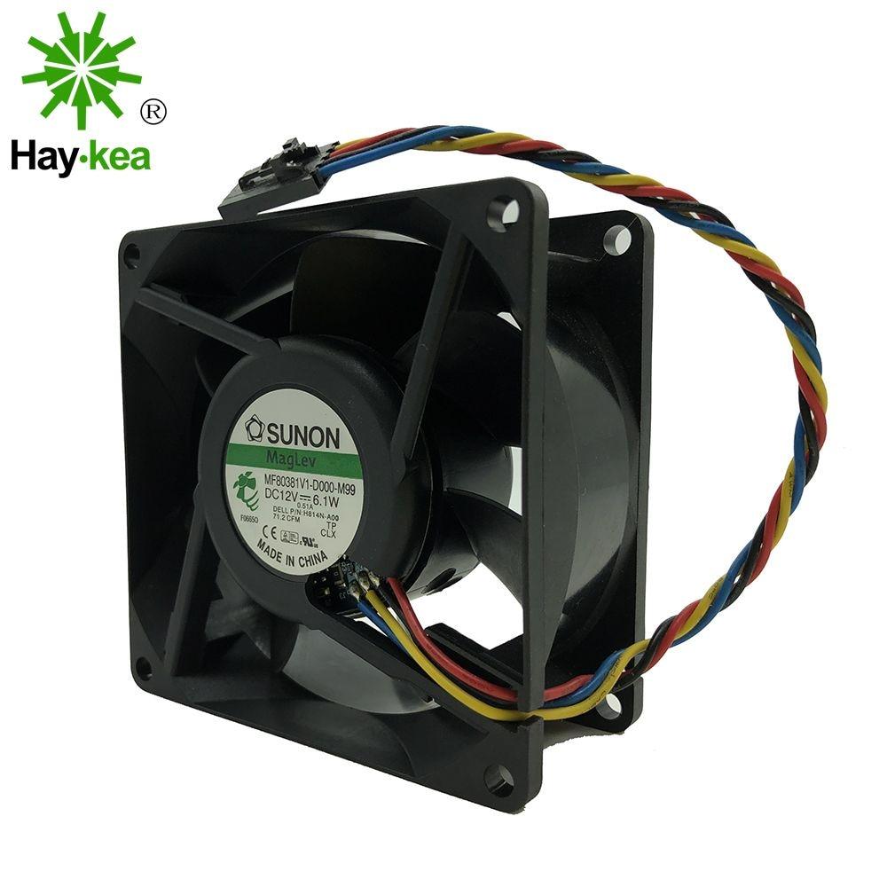 H814N-A00 For SUNON MF80381V1-D000-M99 DC 12V 6.1W 4-wire 4-pin connector 80mm 80x80x38mm Server Square Cooling fa