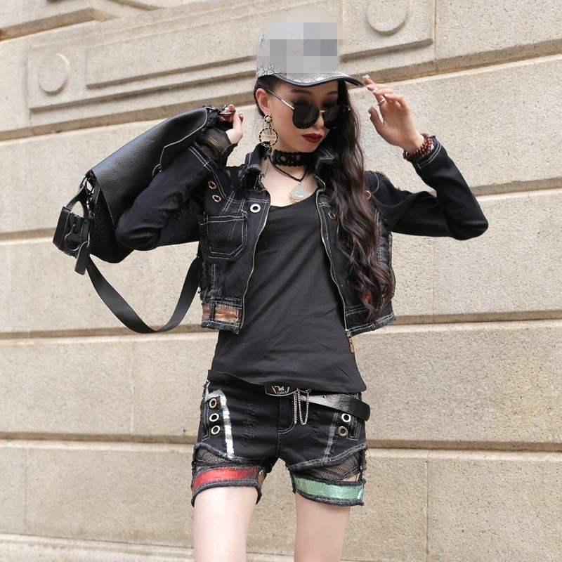 Gothic Punk Style Mesh Patchwork Women 3Pcs Outfits Top Quality Long Sleeve Slim Fit Short Jacket Coat Hole Ripped Hot Shorts