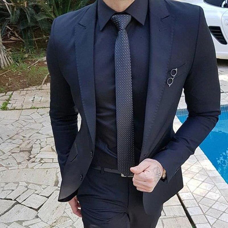 Bleu marine personnaliser hommes costumes pour mariage 2 pièces Costume d'affaires Blazer pic revers Costume Homme Terno costumes de fête (veste + pantalon)