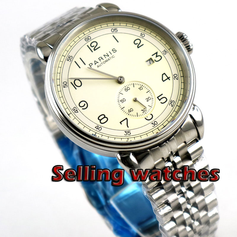 42mm PARNIS Beige Dial Date Indicator Stainless steel strap polished  Case Automatic Mechanical men's Watch | Fotoflaco.net