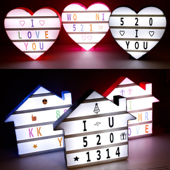 House/Heart Shaped LED Night Light Box Lamp 5V Message Board Combination Letters Number Cards Decoration Lamp Cinema Lightbox qyjsd a4 size led combination creative night light box lamp diy black letters cards usb port powered cinema light box