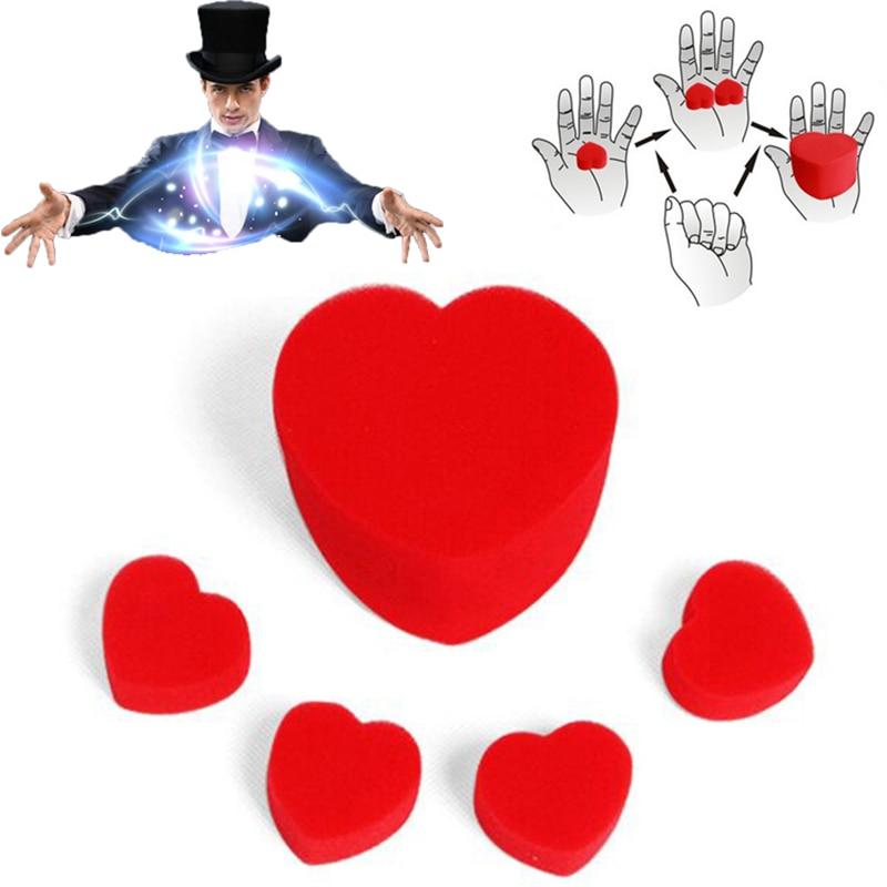 A Set Large Sponges LOVE Heart Red Sponge Heart Balls Funny Props Magic Props Clown Nose Tricks Toys