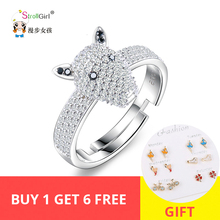Strollgirl 925 sterling Silver Cute Dog head Cubic Zirconia Opening adjustable Ring Luxury Fashion Jewelry For Women New 2019