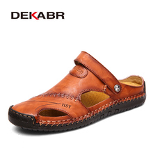 Classic Mens Sandals Summer Genuine Leather Male Beach Sandals Soft Comfortable Male Outdoor Beach Slippers Slip ON Man Sandals