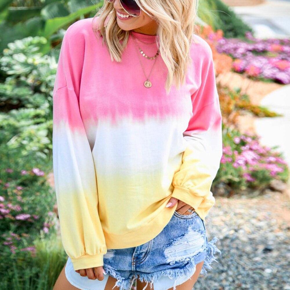 2019 New Autumn Women Sweatshirt Long-sleeve Hoodie Gradient Printed Round Neck Casual Oversized Pullover Hoody Tops