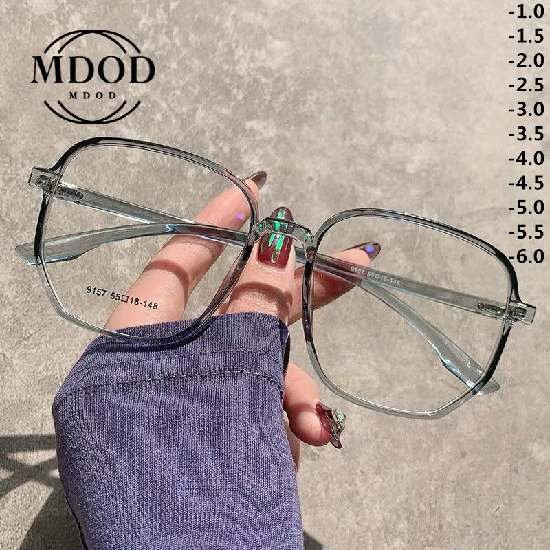 MODO 2020 New Fashion Oversized Polygon Reading Glasses Female Myopia Glasses Irregular Women Flat Mirror Glasses -1.0 to -6.0