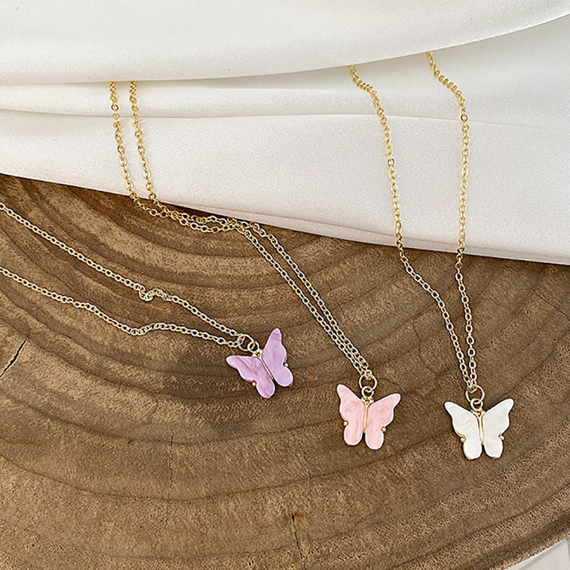 1pcs Ins Fashion Mini Butterfly Pendant Necklace Women Gold Color Choker Necklaces Elegant Collarbone Chain Jewelry New
