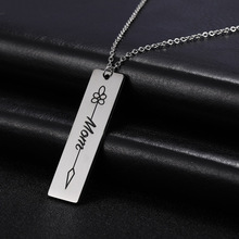 Skyrim Fashion Stainless Steel Chain Necklace Women Family Dad Home Mom Word Statement Pendant Necklaces Custom Jewelry Gift