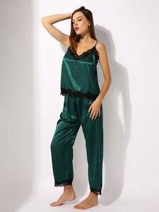 Image 3 - Pijamas de cetim conjunto de pijamas cami topo longo calcinha macia pj conjunto sexy nightwear macio homedress
