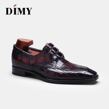 DIMY 2019 handmade custom Goodyear high-end crocodile shoes mens formal business tie with wild pointed derby tide