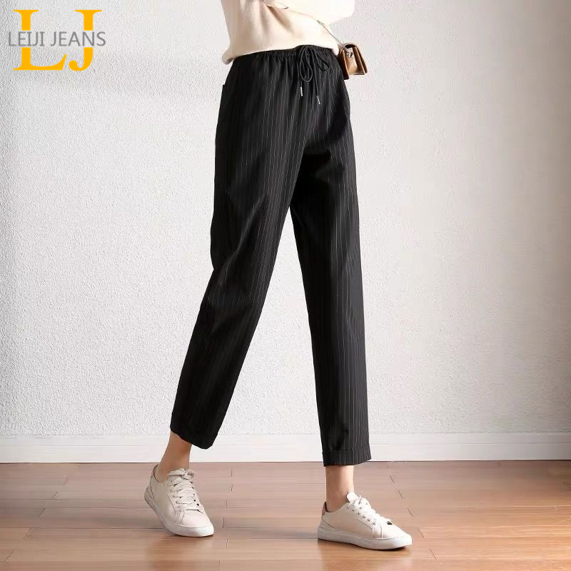 Leijijeans thin spring and summer plus size women pants high waist capri women harem pants casual soft loose trousers for ladies