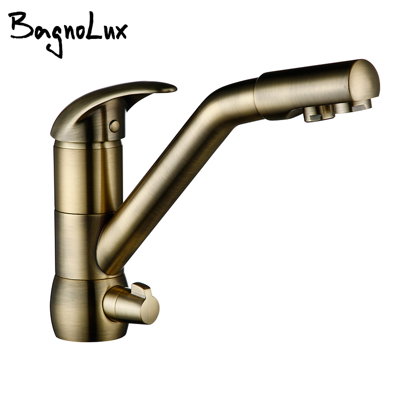 High Quality Wholesale 360 Swivel Brushed Bronze 3 Way Drink Faucet RO Water Tap Kitchen Faucet Tri Flow Reverse Osmosis