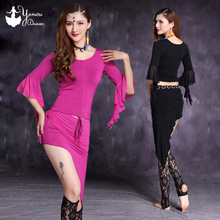 Black Pink Modal Belly Dance Costume Set Sexy Triangle Hip Scarf Style Skirts Half Trumpet Sleeve Tops Slim Fit Dancing Clothes
