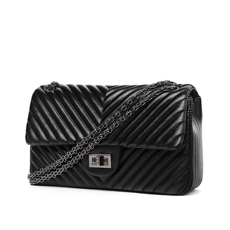 2019 Fashion Quilted Leather Chain Handbag Womens Luxury Shoulder Bags Branded Famous Black Double Flap Crossbody Bag for Women (1)