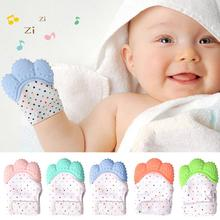 Cute Cartoon Teething Gloves Finger Baby Teether Mittens Silicone Toys Newborn D