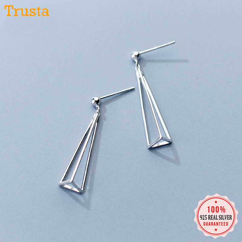 925 Sterling Silver Triangle Striped Studs Earrings Ladies Womens Gift