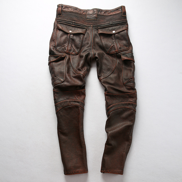 genuine cow leather motorcycle rider pants vintage stylish cowhide leather trousers 4 colours 6