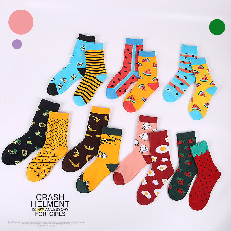 New 2019 Spring Summer AB Men Socks Trend Cotton Funny Happy Socks Cartoon Animal Bee Tiger Novelty Gift Calcetines Hombre