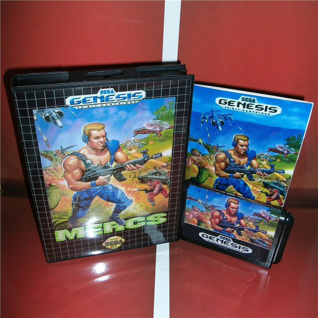 MD games card   Mercs US Cover with Box and Manual For Sega Megadrive Genesis Video Game Console 16 bit MD card