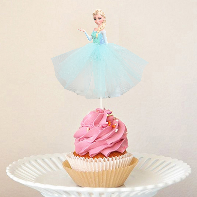 3pcs/lot  Princess Party Theme 3pcs Cupcake Cake Topper For Girls Happy Birthday Party Cake Supplies