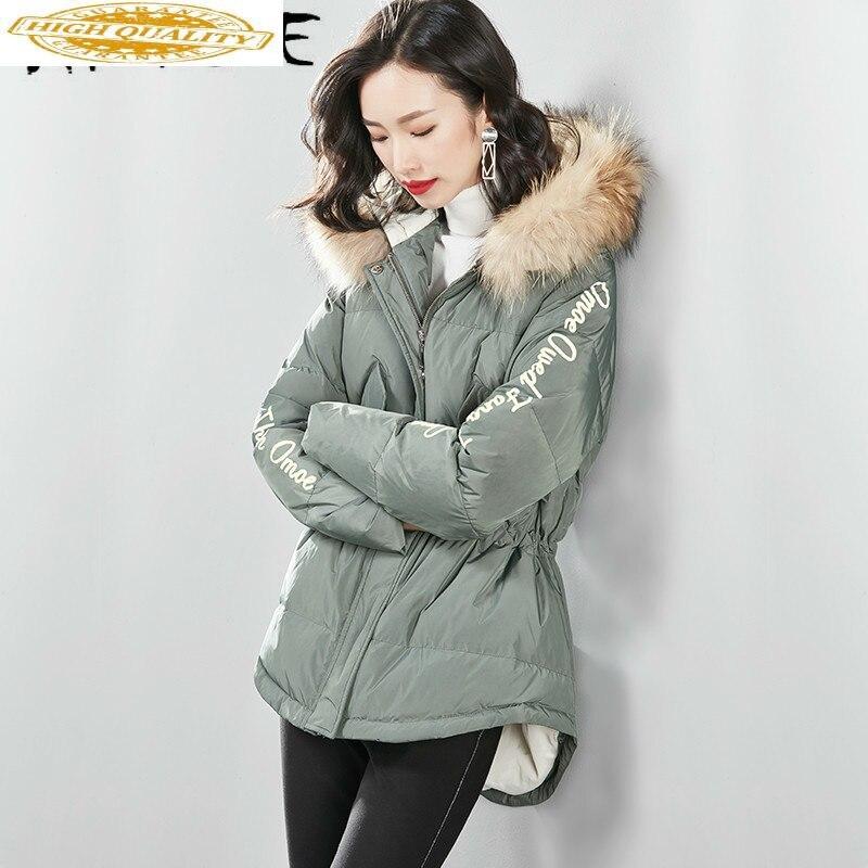 White Duck Down Jacket Women Clothes 2019 Winter Coat Women Big Fur Collar Hooded Korean Puffer Jacket Women VIM18D512801 YY1996