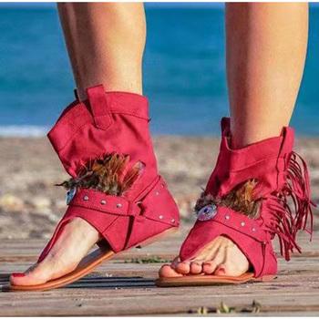 Sandały damskie 2020 klip Toe damskie seksowne buty damskie obuwie damskie sandały z frędzlami rzym gladiator letnie sandały damskie tanie i dobre opinie LLYGE Flock CN (pochodzenie) Kliny NONE Otwarta RUBBER Mieszkanie (≤1cm) 0-3 cm Na co dzień Slip-on Pasuje prawda na wymiar weź swój normalny rozmiar