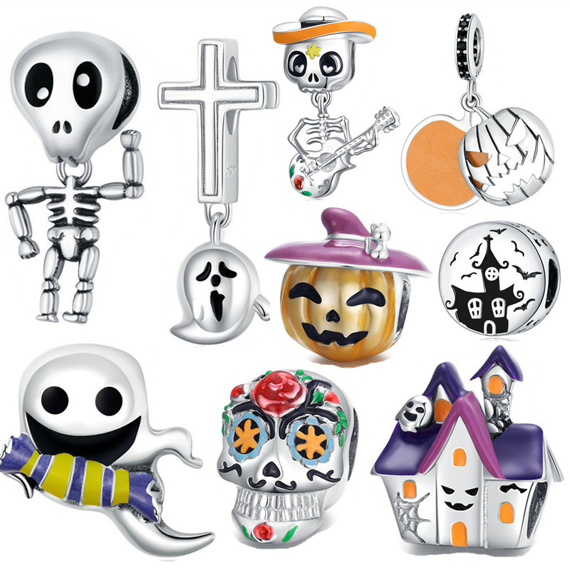 fit Pan bracelet 2020 silver 925 original bat ghost skull beads Halloween haunted house pumpkin charms for woman jewelry making(China)
