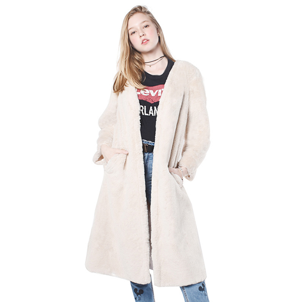 Új téli érkezés koreai stílusú divat nők nyúl prémes kabát - Női ruházat