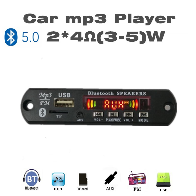 2*5W MP3 Player Record Car USB Bluetooth5.0 Hands-free Integrated MP3 Decoder Board Module With Remote Control USB FM Aux Radio