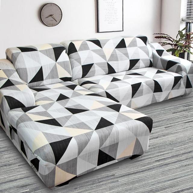 Housse de canapé dangle imprimée et élastique, lot de 2 pièces extensibles en L pour salon, 1/2/3/4 sièges