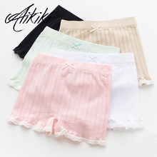Women Elastic Tight Shorts Lace Cotton Boyshort Under Skirt Safety Pants Boyshort Bowknot Underpants Boxer Mujer(China)