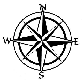 Unique Compass Pattern Car Truck Window Decal Reflective Sticker Decoration image