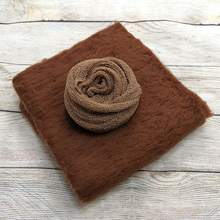 50x50cm 100% Fluffy Wool Felt Real Wool Blanket Basket Filler+140*30cm Stretch Knit Wrap for Newborn Photography Props