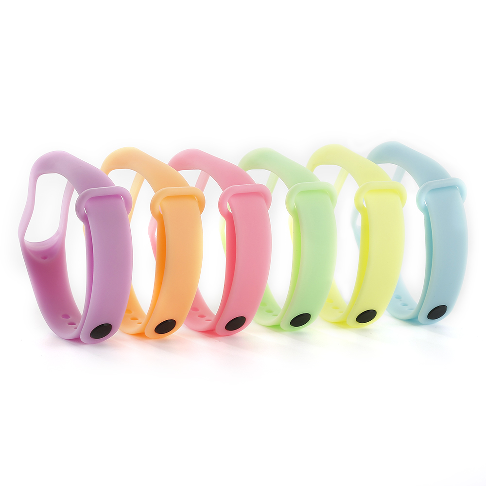 Noctilucent Colorful Replacement Protect Silicone Wrist Bracelet Strap For Xiaomi Band 3  Bracelet Sport Smart Watch Accessory