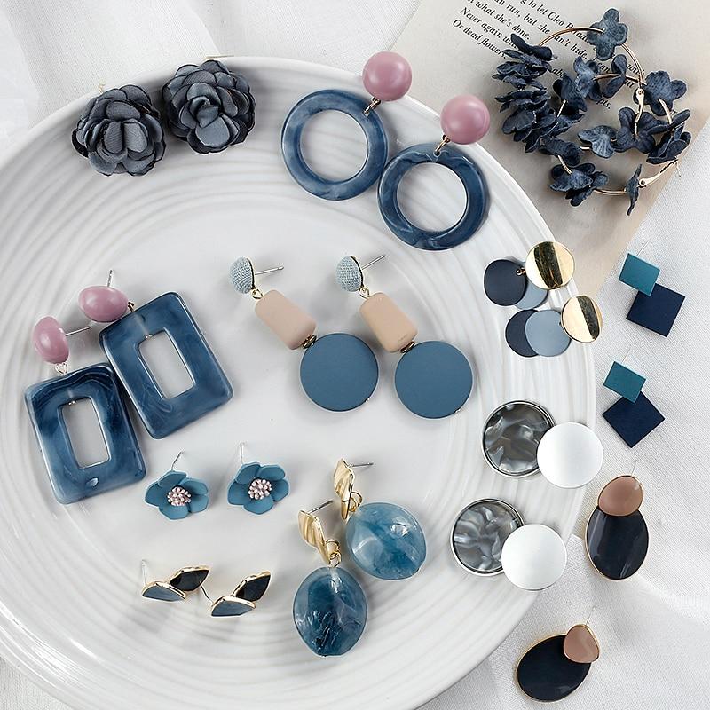 AENSOA Korean Blue Geometric Acrylic Resin Earrings Simple Round Square Circle Drop Dangle Earrings for Women Girl Party Jewelry