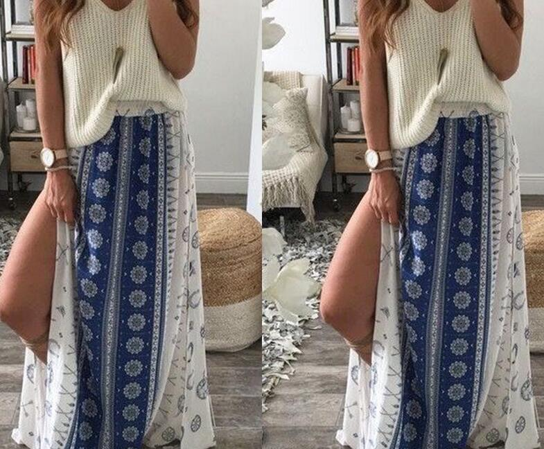 Frauen Röcke Mode Sommer Röcke hohe Taille Böhmen Gabel Print Maxi - Damenbekleidung - Foto 3
