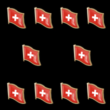 10PCS Switzerland Metal Flag Lapel Pin Badges For Clothes Butterfly Clip Set Brooch Badge
