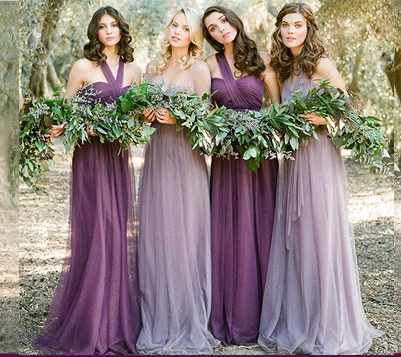 Plus Size Tulle Junior Purple Bridesmaid Dress Pink Elegant Dress Women For Wedding Party Prom Sister Guest Club Long Simple